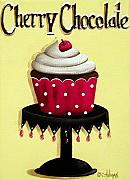 Folk Art Paintings - Cherry Chocolate Cupcake by Catherine Holman