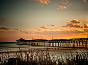 Clouds Acrylic Prints - Cherry Grove Pier Myrtle Beach SC Acrylic Print by Trish Tritz