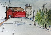 Christmas Card Originals - Cherry Hill Farm by Pat Purdy