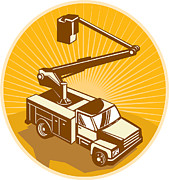 Pick Up Framed Prints - Cherry Picker Bucket Truck Access Equipment Retro Framed Print by Aloysius Patrimonio