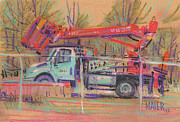 Truck Pastels Prints - Cherry Picker Print by Donald Maier
