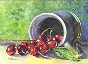 Produce Drawings Prints - Cherry Pickins Print by Carol Wisniewski