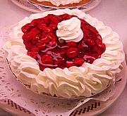 Green Paintings - Cherry Pie with  Whip Cream by Amy Vangsgard