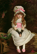 Pink Shoes Framed Prints - Cherry Ripe Framed Print by Sir John Everett Millais