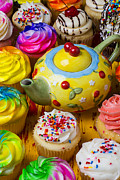 Teapot Photos - Cherry teapot and cupcakes by Garry Gay