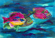 Fish Underwater Mixed Media - Cherry Toppers by Kathy Braud