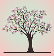 Tree Blossoms Drawings - Cherry Tree with blossoms by Olivera Antic