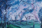 Cherry Blossoms Drawings Posters - Cherry Trees Impressionism Poster by Eric  Schiabor