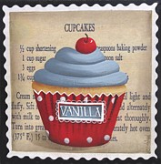 Cherry Art Prints - Cherry Vanilla Cupcake Print by Catherine Holman