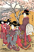 Japanese Art Digital Art Prints - Cherry-viewing at Gotenyama Print by William Braddock