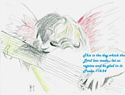 Religious Art Drawings - Cherub with Psalm by Michael Snincsak