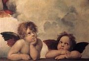 Cherubs On The Sistine Chapel Print by Raphael