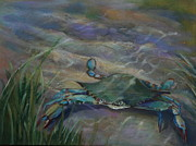 Pinchers Posters - Chesapeake Bay Blue Crab Poster by Susan Bradbury