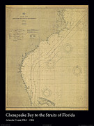Nautical Chart Posters - Chesapeake Bay to Florida Straits Poster by Adelaide Images