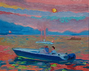 Thomas Bertram Poole Prints - Chesapeake Bay Twilight with Moon Print by Thomas Bertram POOLE