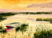 Cattail Paintings - Chesapeake Marsh by Melly Terpening