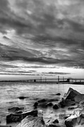 Chesapeake Bay Bridge Posters - Chesapeake Mornings BW Poster by JC Findley