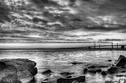 Chesapeake Bay Bridge Posters - Chesapeake Splendor BW Poster by JC Findley