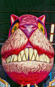 Cats Glass Art Metal Prints - Cheshire Cat Metal Print by Gregory Dyer
