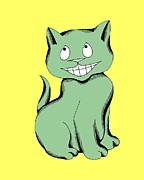 Cartoon Drawings - Cheshire Cat Laughing by Pet Serrano