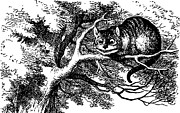 Adventures Drawings Posters - Cheshire Cat Smiling Poster by John Tenniel