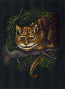 Alice In Wonderland Paintings - Cheshire Cat by Suzette Broad