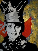 Mad Hatter Painting Prints - Chesire Hatter Print by Nickie Mantlo