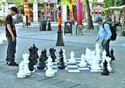 Board Game Posters - Chess Board Pioneer Square Poster by Allen Beatty