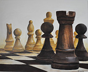 Chess Piece Painting Posters - Chess game Poster by Elena Hasnas