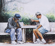 Chess Men Paintings - Chess Players by Sharon Sorrels