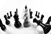 Chess Pieces Prints - Chess Posters black and white Print by Falko Follert
