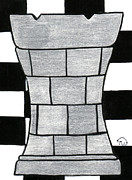 Chess Piece Painting Posters - Chess Rook Poster by Tambra Wilcox