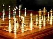 Chess Set  Print by Diane Merkle