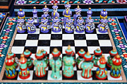Chess Set Prints - Chess set in Bukhara Uzbekistan Print by Robert Preston