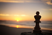 Chess King Posters - Chess Sunset Poster by Colin and Linda McKie