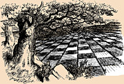 Board Game Drawings - Chessboard Through the Looking Glass by John Tenniel