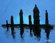 Chessmen Painting Prints - Chessmen at dusk Print by AJ Warren