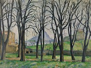 Autumn Landscape Painting Framed Prints - Chestnut Trees at Jas de Bouffan Framed Print by Paul Cezanne