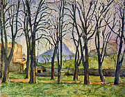 John Peter Framed Prints - Chestnut Trees in Jas de Bouffan by Cezanne Framed Print by John Peter