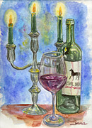 Wine Bottle Paintings - Cheval Noir by Jana Goode