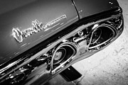 American Muscle Car Prints - Chevrolet Chevelle Emblem Black and White Picture Print by Paul Velgos