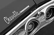 Black And White Photography Metal Prints - Chevrolet Chevelle SS Taillight Emblem Metal Print by Jill Reger