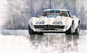 Racing Car Prints - Chevrolet Corvette C3 Print by Yuriy  Shevchuk