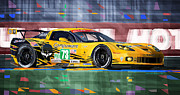 Yellow Mixed Media Prints - Chevrolet Corvette C6R GTE Pro Le Mans 24 2012 Print by Yuriy  Shevchuk
