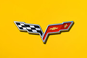 Motography Posters - Chevrolet Corvette Flags Poster by Phil