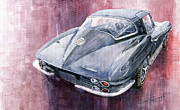 Watercolor Framed Prints - Chevrolet Corvette Sting Ray 1965 Framed Print by Yuriy  Shevchuk