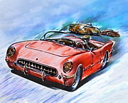 Celebrity Mixed Media Posters - Chevrolet Corvette V8 1955  Poster by Andrzej  Szczerski