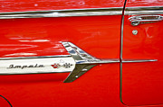 Red Street Rod Posters - Chevrolet Impala Classic in Red Poster by Carolyn Marshall