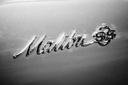 1960 Photo Metal Prints - Chevrolet Malibu SS Emblem Black and White Picture Metal Print by Paul Velgos