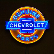Chevrolet Framed Prints - Chevrolet Neon Sign Framed Print by Jill Reger